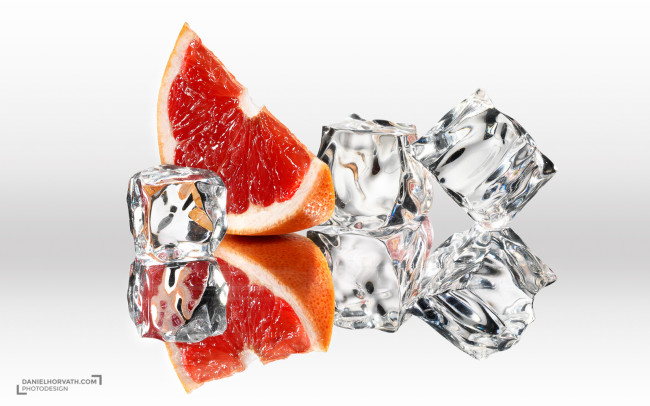 Red orange and ice cubes